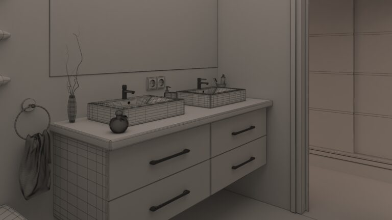 Infografia 3d tipo maya de cuarto de baño