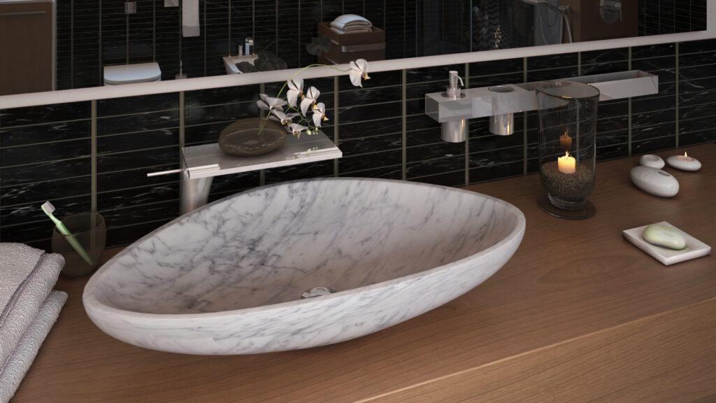 infografia 3d baño y lavabo de mármol