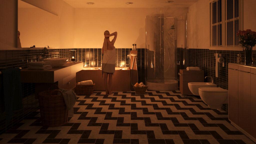 Infografia 3d de cuarto de baño con iluminación de velas