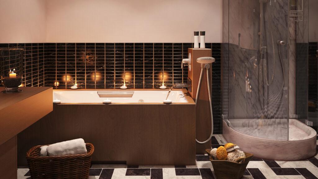 infografia 3d de bañera y plato de ducha