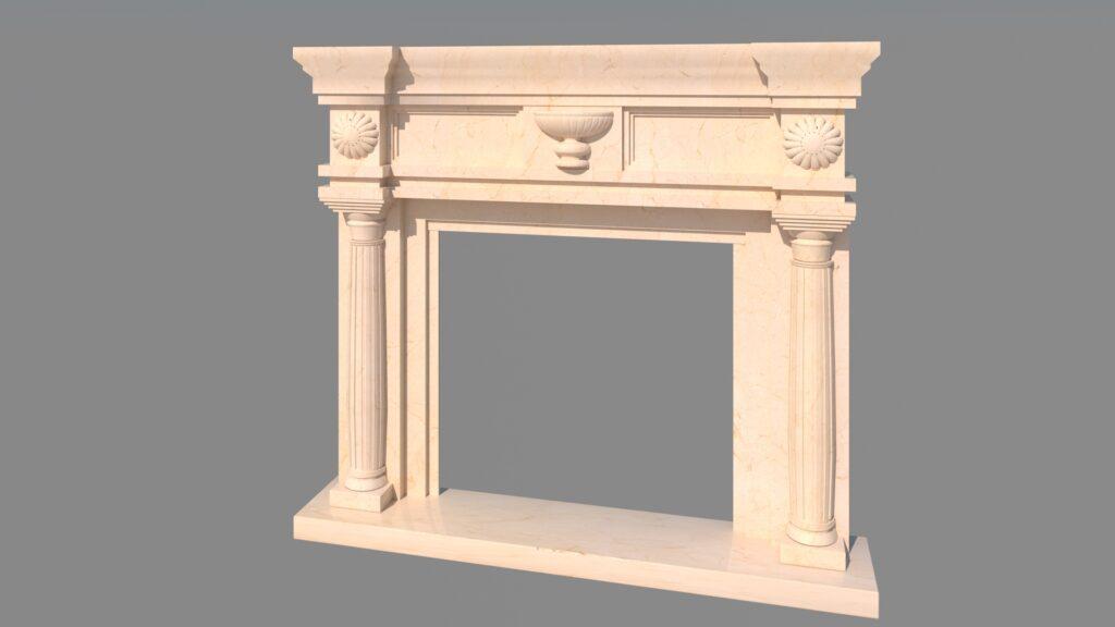 modelado de elementos arquitectónicos en 3d chimenea