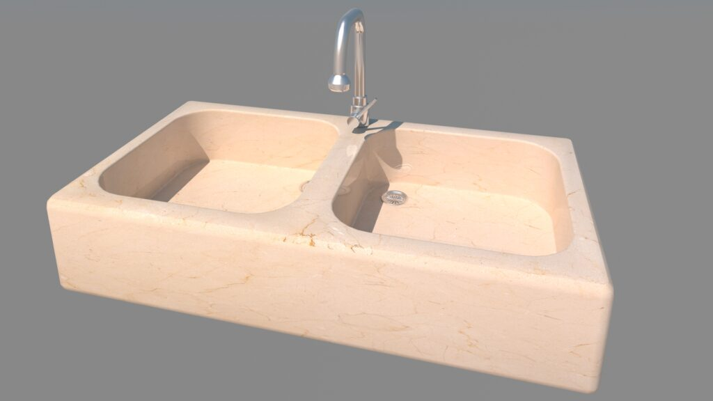 modelado de mobiliario en 3d fregadero