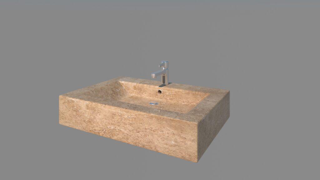 modelado de elementos arquitectónicos en 3d lavabo