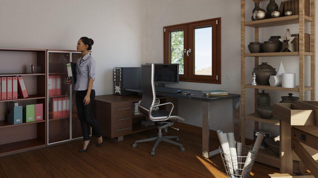 render y arquitectura 3d de Oficina y Sala de manualidades 01b