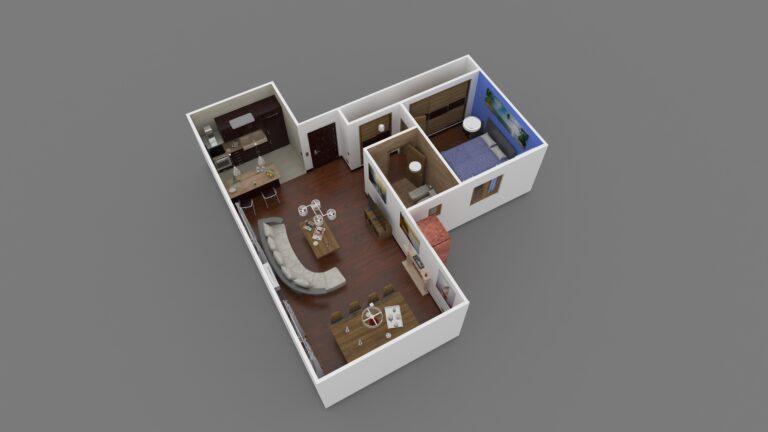 Perspectiva 3D planos apartamento 01