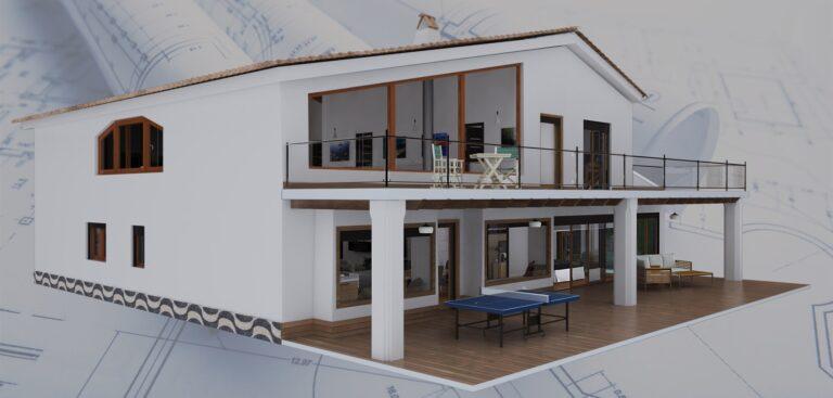 Perspectiva exterior 3d de vivienda unifamiliar