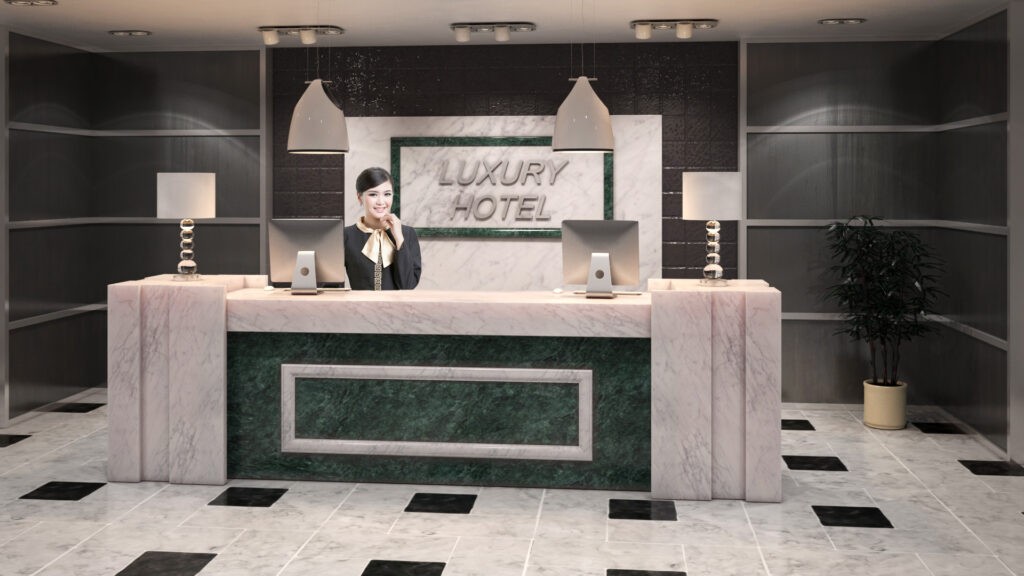Infografia 3d recepción hotel