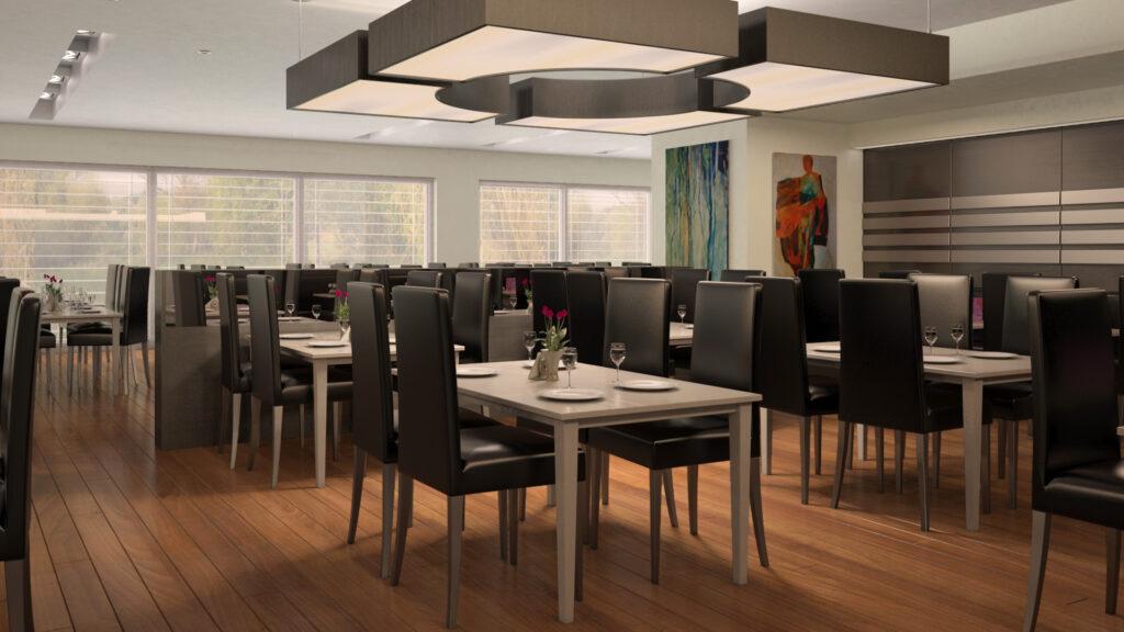 infografia 3d salón comedor restaurante